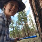 Paige Kouba cores a pine in the Eastern Sierras